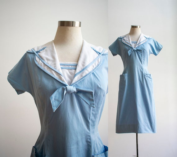 Vintage 1940s Sailor Dress / Blue and White Cotton