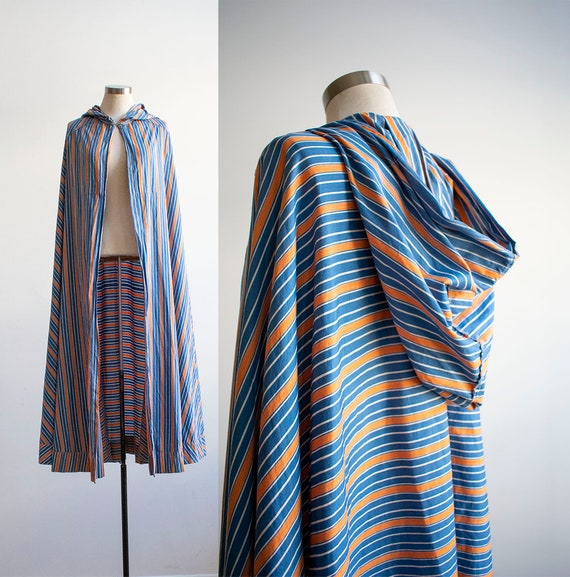 Vintage 1940s Cape / Long Striped Cape / Vintage C