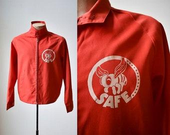 Vintage Red Service Jacket / Bee Safe Service Jacket / Cotton Zip up Jacket / Lightweight Jacket Sir Jac Jacket / Service Jacket Medium