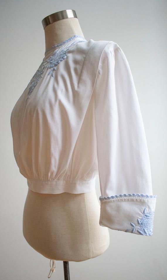 Vintage Edwardian Blouse / White Cotton Embroider… - image 4