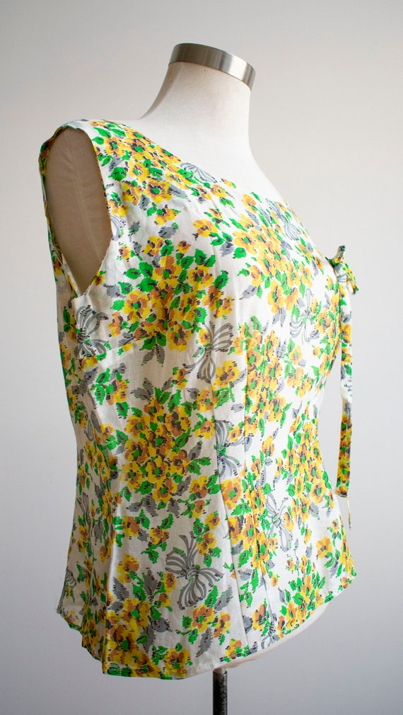 Vintage Linen Floral Blouse / 1930s Feed Sack Blo… - image 4