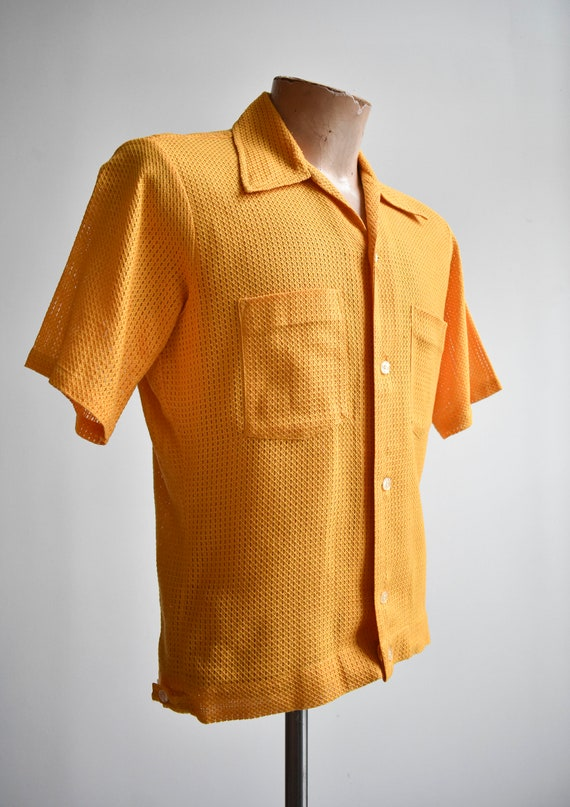 1960s Mesh Mustard Yellow Button Down Shirt - image 3