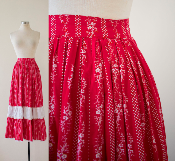 Vintage 1970s Prairie Skirt / Red and White Skirt