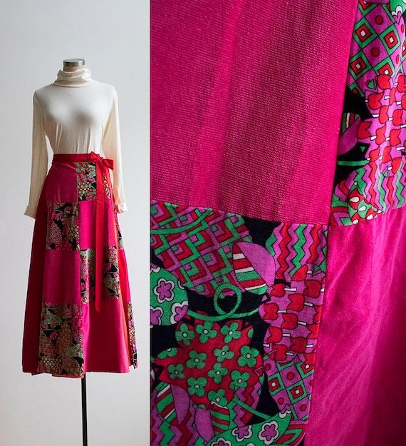 Vintage 1970s Maxi Skirt / Bright Pink Velour Skir