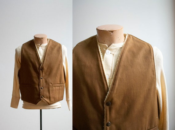 Vintage Brown Vest / Vintage Sherpa Lined Vest / V