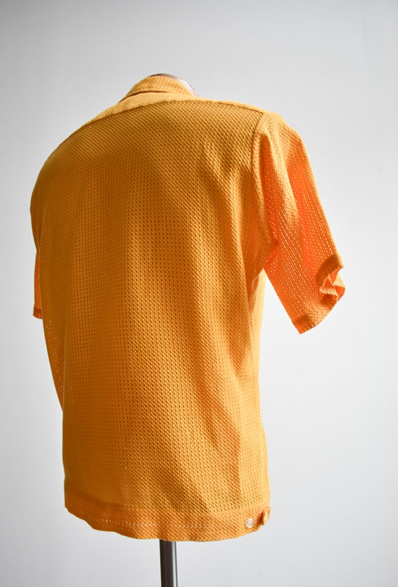 1960s Mesh Mustard Yellow Button Down Shirt - image 6