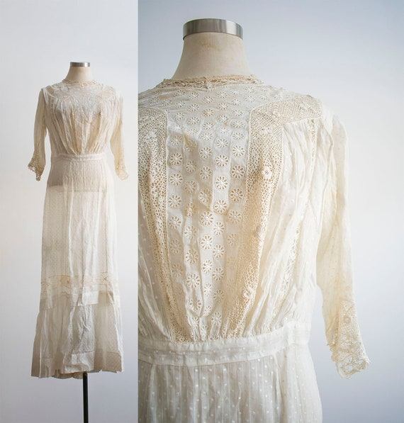 Edwardian Lawn Dress / Antique Lace Gown / Antique