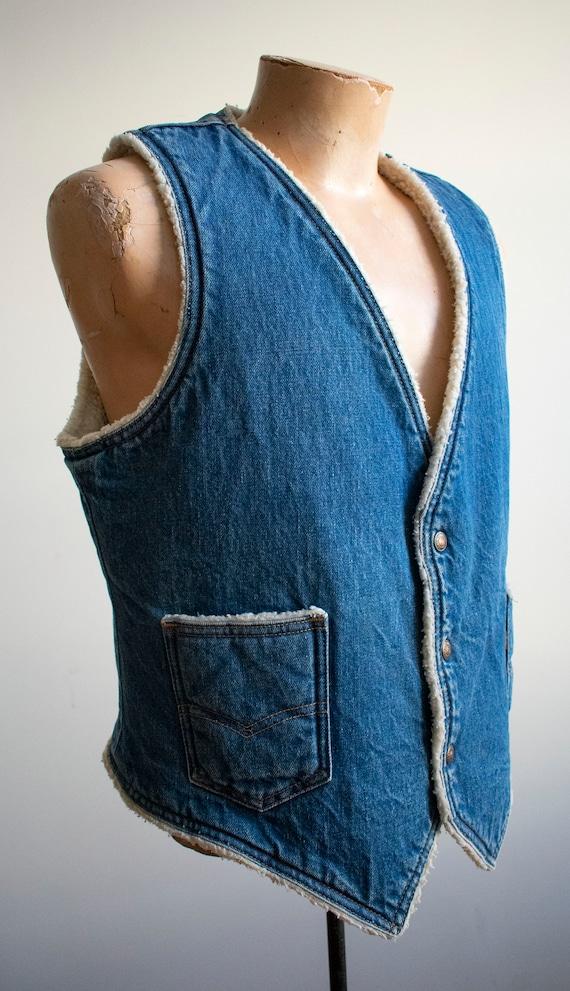Vintage Denim Vest / Vintage 1970s Denim Vest / W… - image 5
