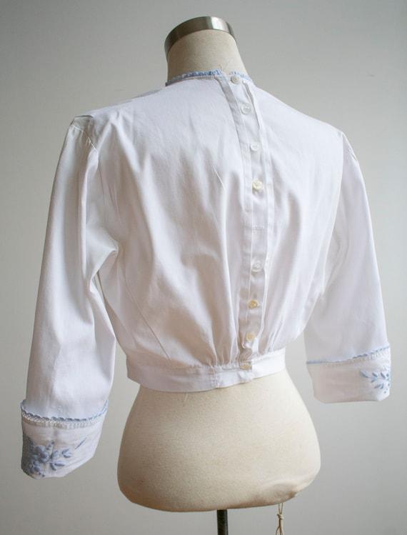 Vintage Edwardian Blouse / White Cotton Embroider… - image 7