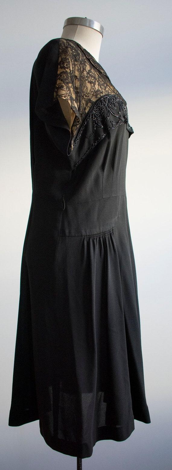 Vintage 1940s Black Cocktail Dress / Black Lace C… - image 4