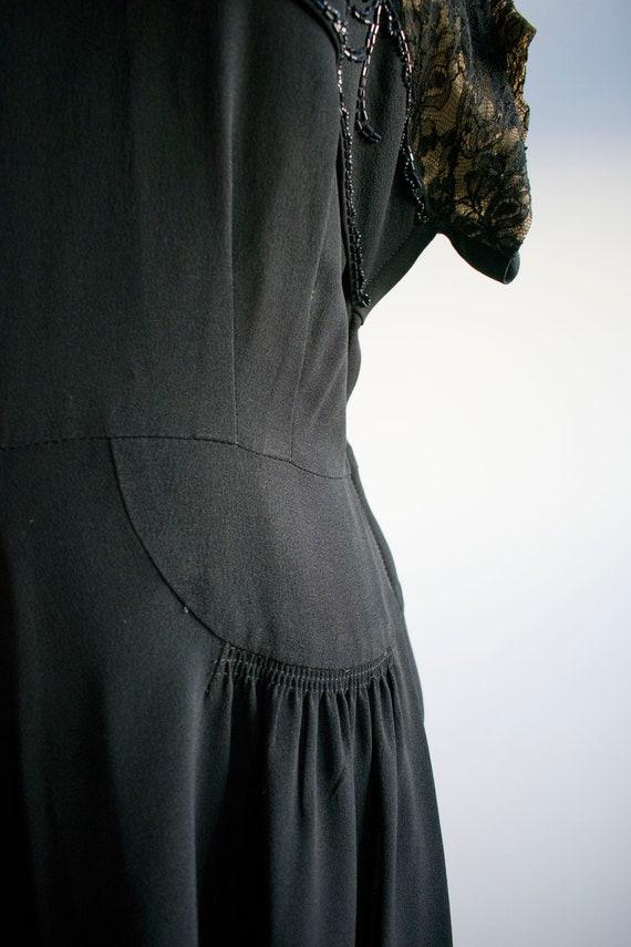 Vintage 1940s Black Cocktail Dress / Black Lace C… - image 6