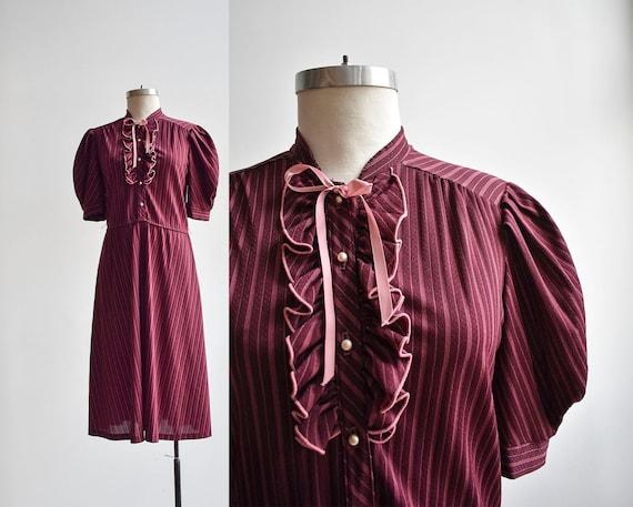 70s Maroon Striped Shirt Dress - image 1