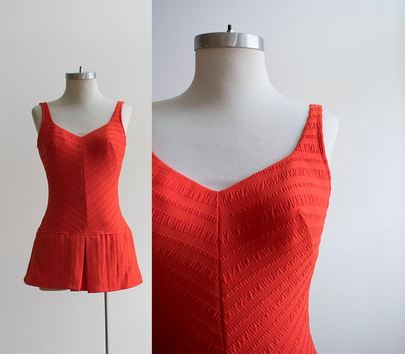 Vintage 1960s Swimsuit / 1960s Playsuit / Bright O