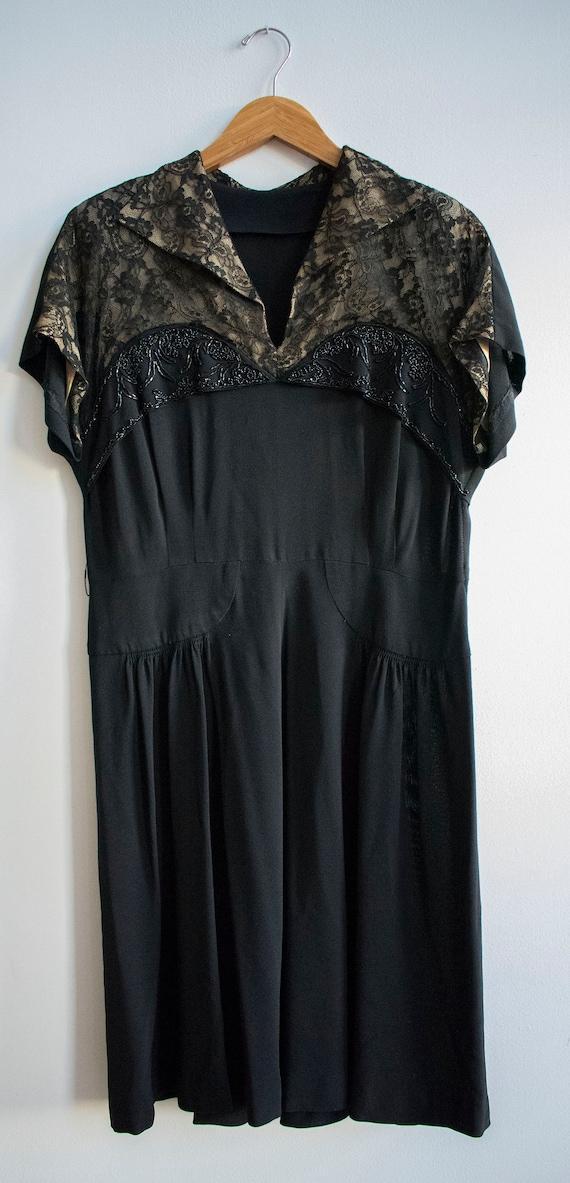Vintage 1940s Black Cocktail Dress / Black Lace C… - image 10