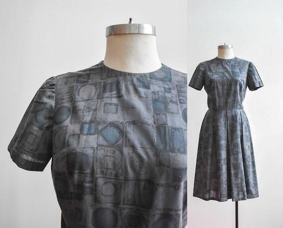 50s Gray Geometric Shirt Dress