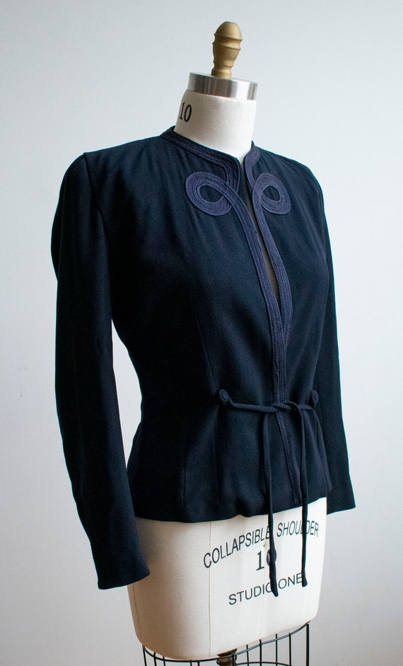 Vintage 1940s Suit Jacket / Navy Blue Womens Jack… - image 6