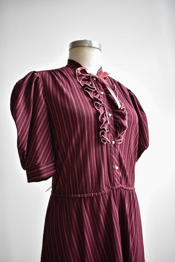 70s Maroon Striped Shirt Dress - image 4