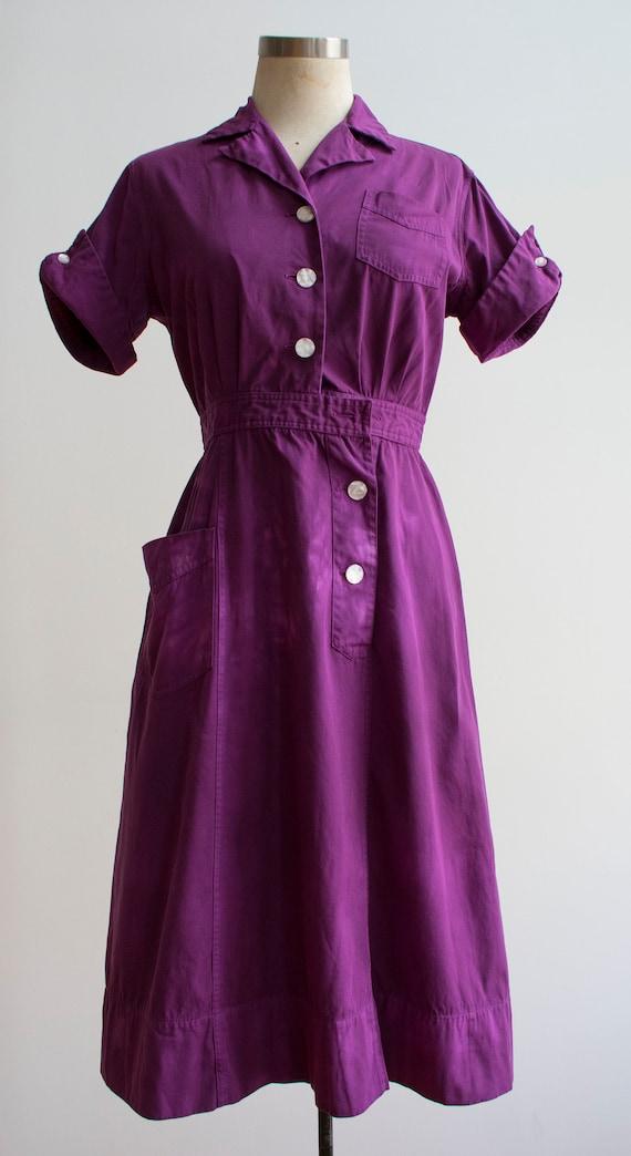1960s Uniform Dress / Hand Dyed Purple Dress / Pu… - image 2