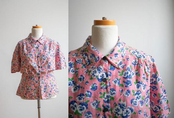 Vintage Cotton Floral Blouse / Vintage 1930s 1940s