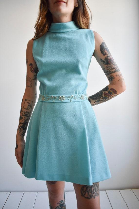 1970s Pale Blue Mini Dress - image 7
