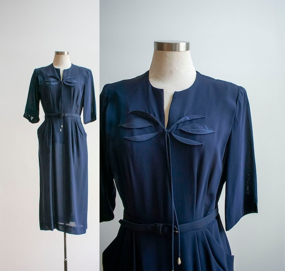 Vintage 1940s Cocktail Dress / Navy Blue 1940s Coc