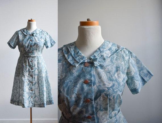 Vintage 1950s Cocktail Dress / Vintage Cotton Shir