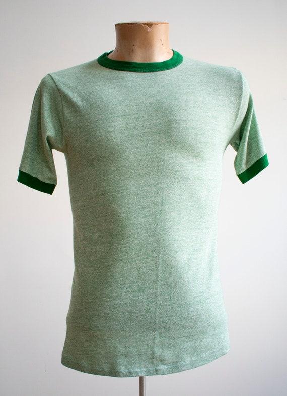 1970s Blank Ringer Tshirt / Vintage Green Ringer … - image 2