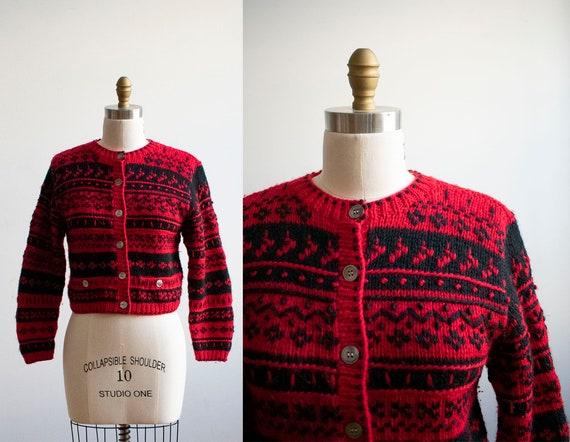 Vintage 1950s Cardigan Sweater / Vintage Hand Knit