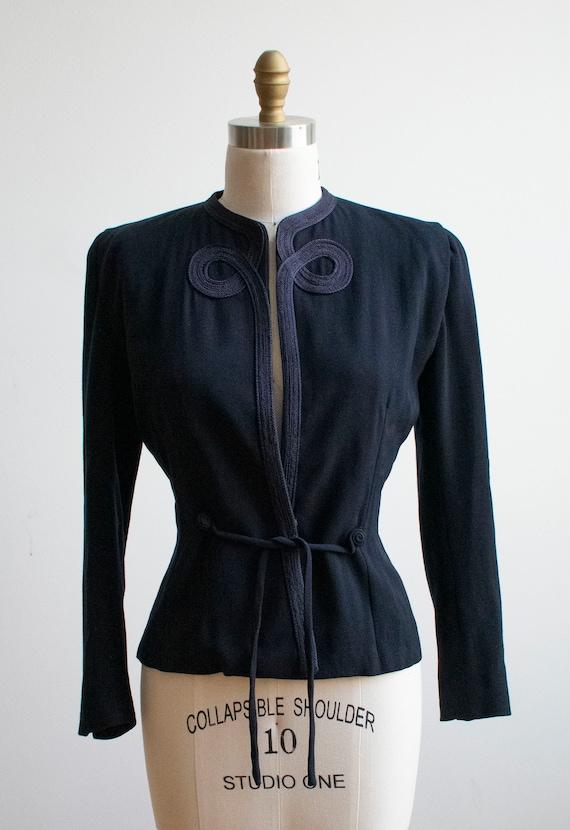 Vintage 1940s Suit Jacket / Navy Blue Womens Jack… - image 3
