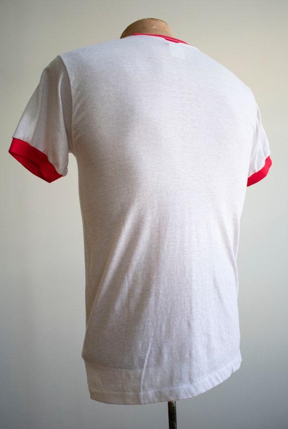 Vintage 1970s Ringer Tshirt / Vintage Red and whi… - image 8