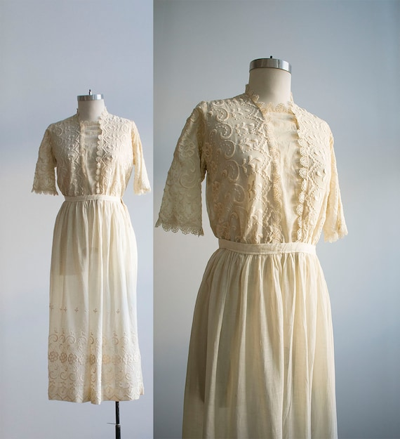 Antique 2pc Outfit / Edwardian Lawn Outfit / Embro