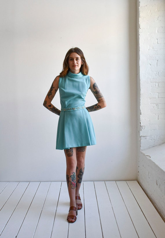 1970s Pale Blue Mini Dress - image 1