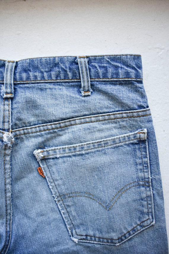 Vintage Levis Orange Tab Big E Bell Bottom Jeans - image 9