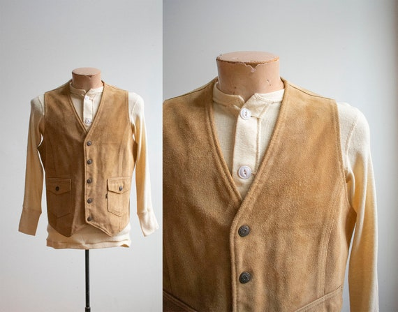Vintage Tan Suede Vest / Vintage Suede Leather Ves