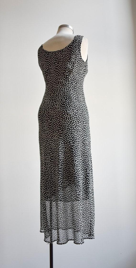 90s Black and White Polka Dot Maxi Dress - image 6
