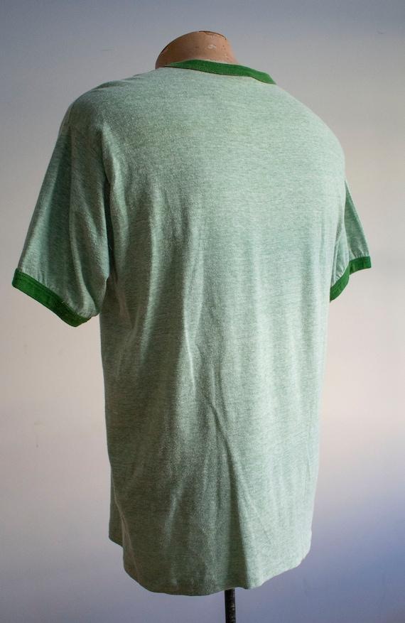 Vintage 1970s Ringer Tshirt / Green Ringer Tee / … - image 9