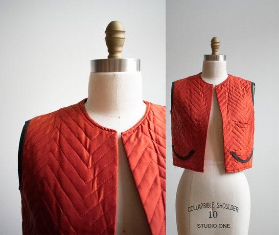 Vintage Orange Vest / Vintage Lining / Quilted Ves
