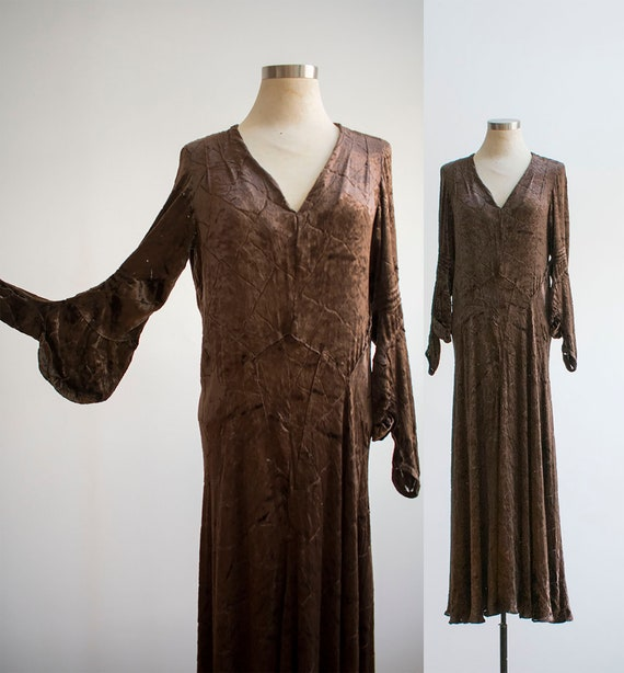Brown Velour Gown / 1930s Burnout Dress / 1930s Bu