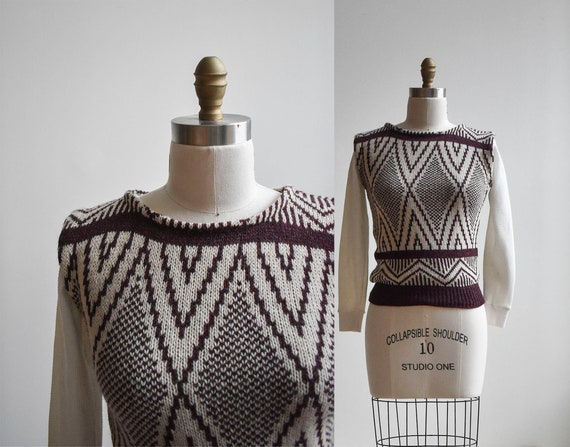 Vintage Maroon Knit Sweater Vest