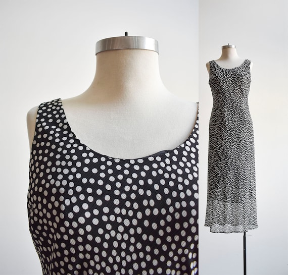 90s Black and White Polka Dot Maxi Dress - image 1