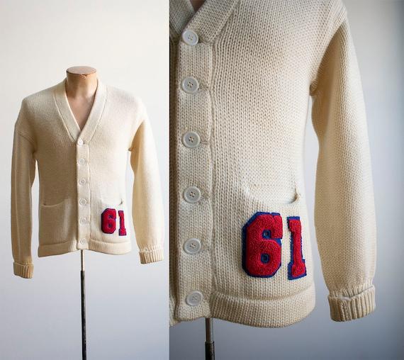 Vintage 1960s Letterman Sweater / Cream Letterman