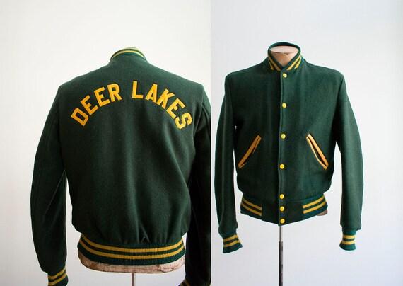 1960s Green Wool Letterman Jacket / True Vintage H