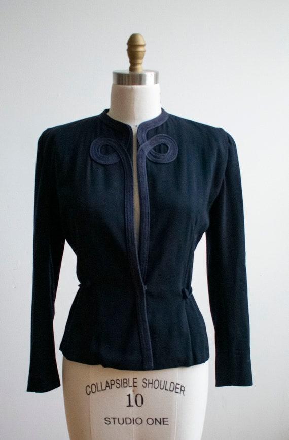 Vintage 1940s Suit Jacket / Navy Blue Womens Jack… - image 2
