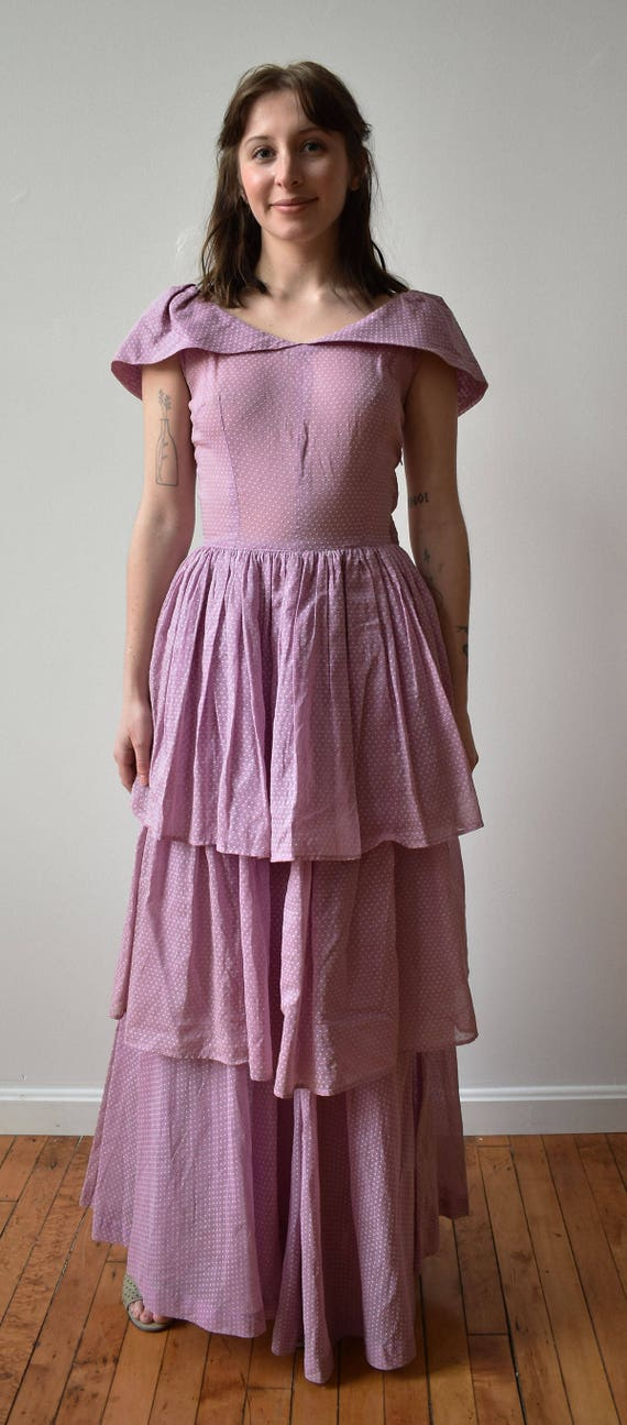 Vintage 1940s Gown / Purple Swiss Dot Gown / Polk… - image 2
