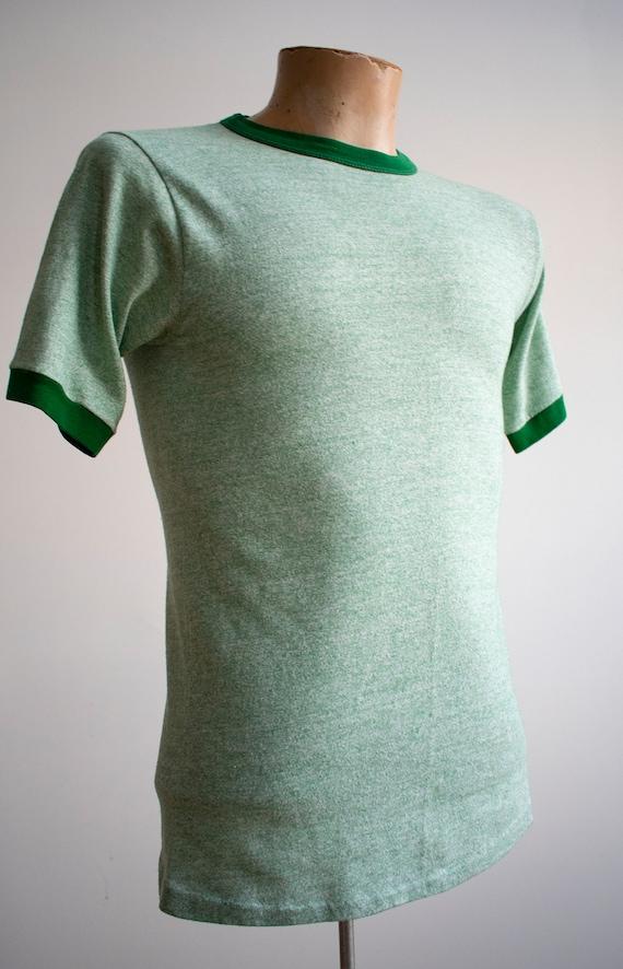 1970s Blank Ringer Tshirt / Vintage Green Ringer … - image 4