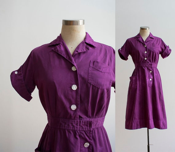 1960s Uniform Dress / Hand Dyed Purple Dress / Pur