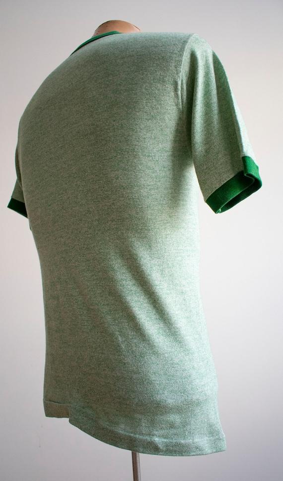 1970s Blank Ringer Tshirt / Vintage Green Ringer … - image 7