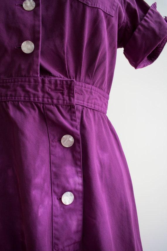 1960s Uniform Dress / Hand Dyed Purple Dress / Pu… - image 3