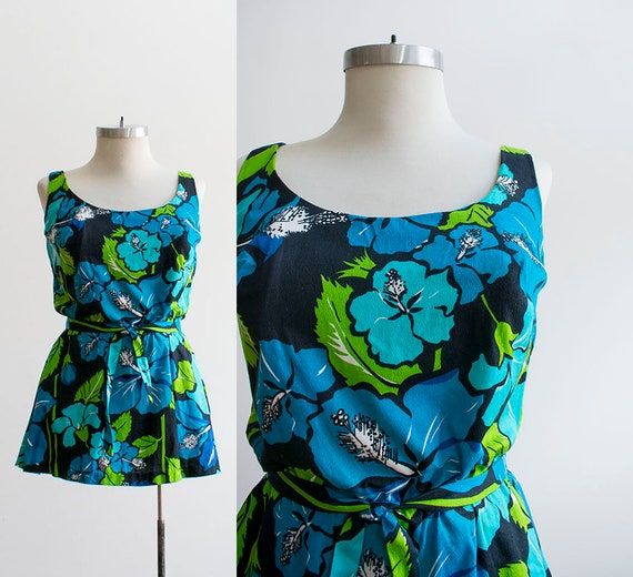 Vintage 1960s Floral Swimsuit / Vintage Green and