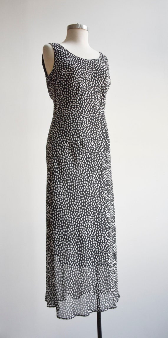 90s Black and White Polka Dot Maxi Dress - image 3